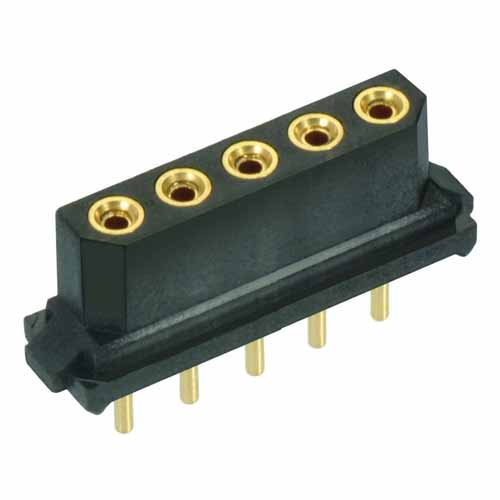 B5741-105-F-T-2 - 5 Pos. Female SIL Vertical Throughboard Conn. for Latches (BS Release)