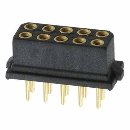 B5741-210-F-T-2 - 5+5 Pos. Female DIL Vertical Throughboard Conn. for Latches (BS Release)