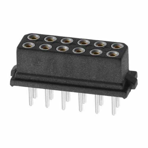 B5741-212-F-T-0 - 6+6 Pos. Female DIL Vertical Throughboard Conn. for Latches (BS Release)