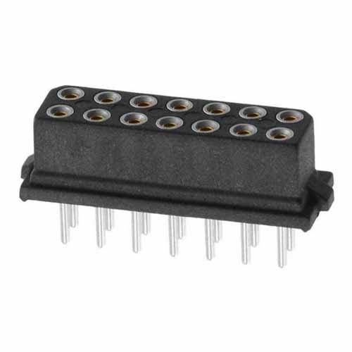 B5741-214-F-T-0 - 7+7 Pos. Female DIL Vertical Throughboard Conn. for Latches (BS Release)