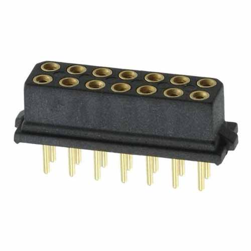 B5741-214-F-T-2 - 7+7 Pos. Female DIL Vertical Throughboard Conn. for Latches (BS Release)