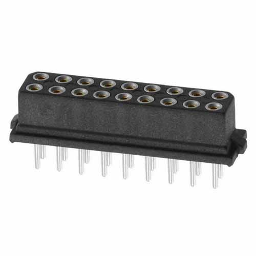 B5741-218-F-T-0 - 9+9 Pos. Female DIL Vertical Throughboard Conn. for Latches (BS Release)