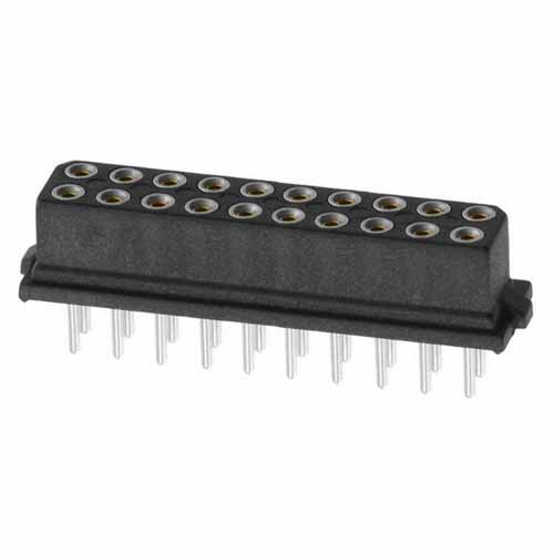 B5741-220-F-T-0 - 10+10 Pos. Female DIL Vertical Throughboard Conn. for Latches (BS Release)