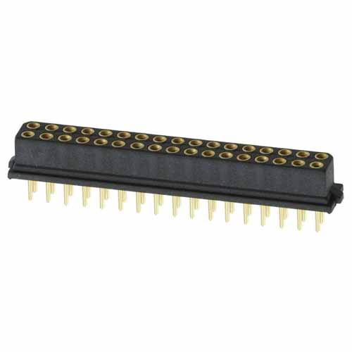 B5741-234-F-T-2 - 17+17 Pos. Female DIL Vertical Throughboard Conn. for Latches (BS Release)