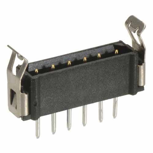 B5743-106-M-T-1 - 6 Pos. Male SIL Vertical Throughboard Conn. Latches (BS Release)