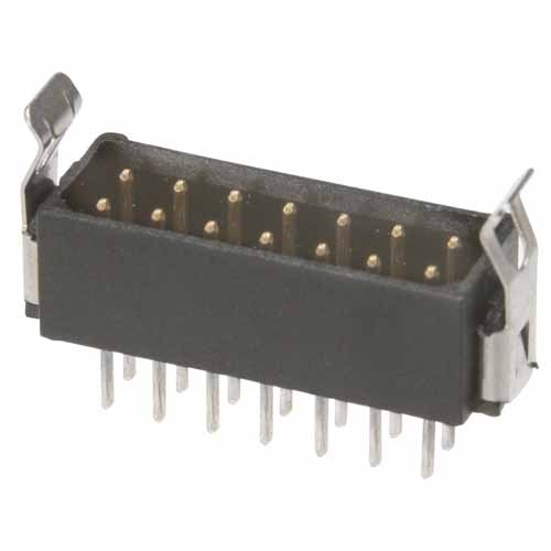 B5743-214-M-T-1 - 7+7 Pos. Male DIL Vertical Throughboard Conn. Latches (BS Release)
