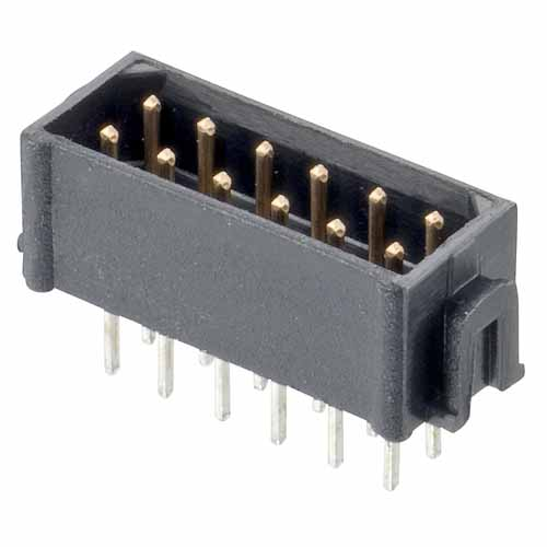 B5743-218-M-T-0 - 9+9 Pos. Male DIL Vertical Throughboard Conn. No Latches (BS Release)