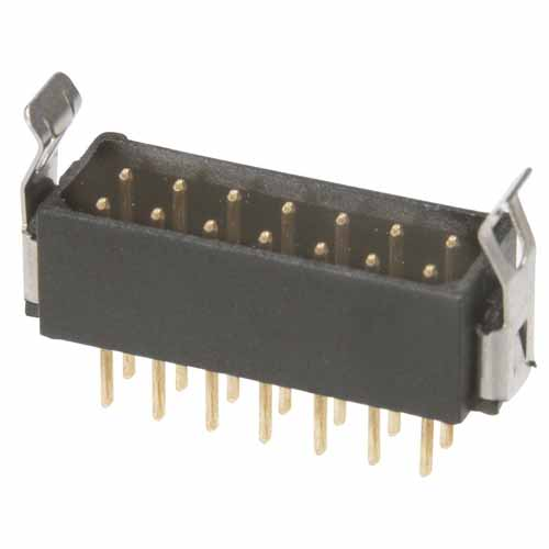 B5743-220-M-T-3 - 10+10 Pos. Male DIL Vertical Throughboard Conn. Latches (BS Release)