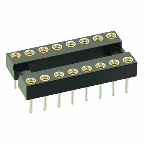 D2818-42 - 9+9 Pos. Female DIL Vertical Throughboard IC Socket