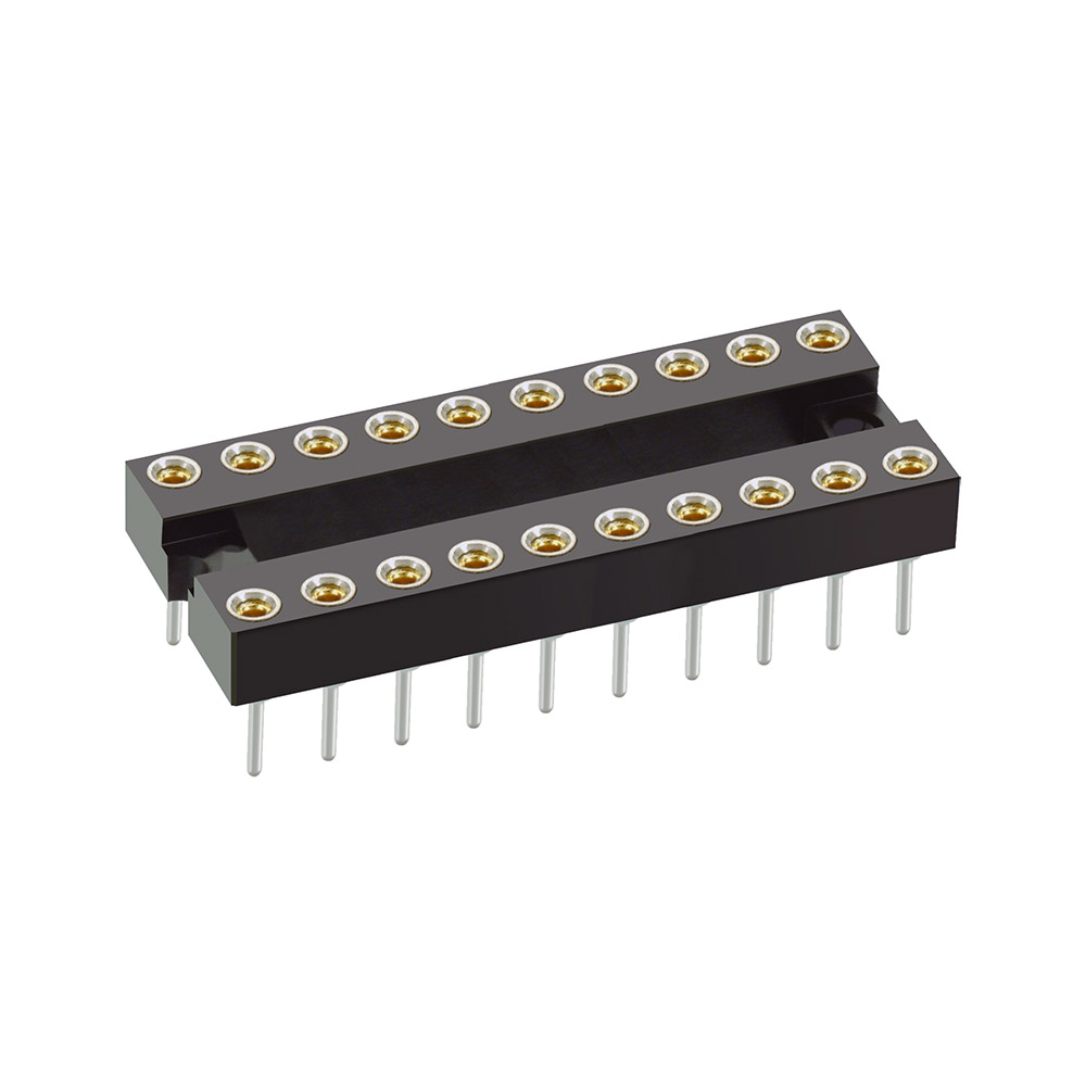 D2820-42 - 10+10 Pos. Female DIL Vertical Throughboard IC Socket