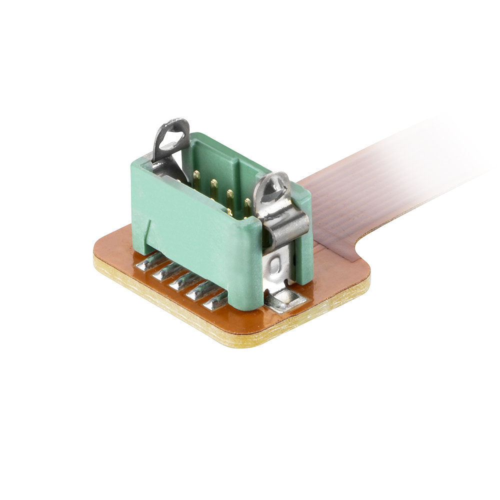 G125-F1MS110-075-FS1 - 5+5 Pos. Male DIL Flex Circuit Assembly, 75mm, Female 2nd end, Latches