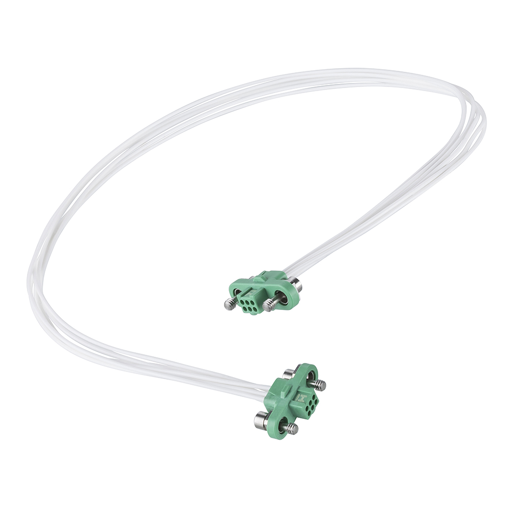 G125-FC10605F1-0300F1 - 3+3 Pos. Female DIL 26AWG Cable Assembly, 300mm, double-end, Screw-Lok