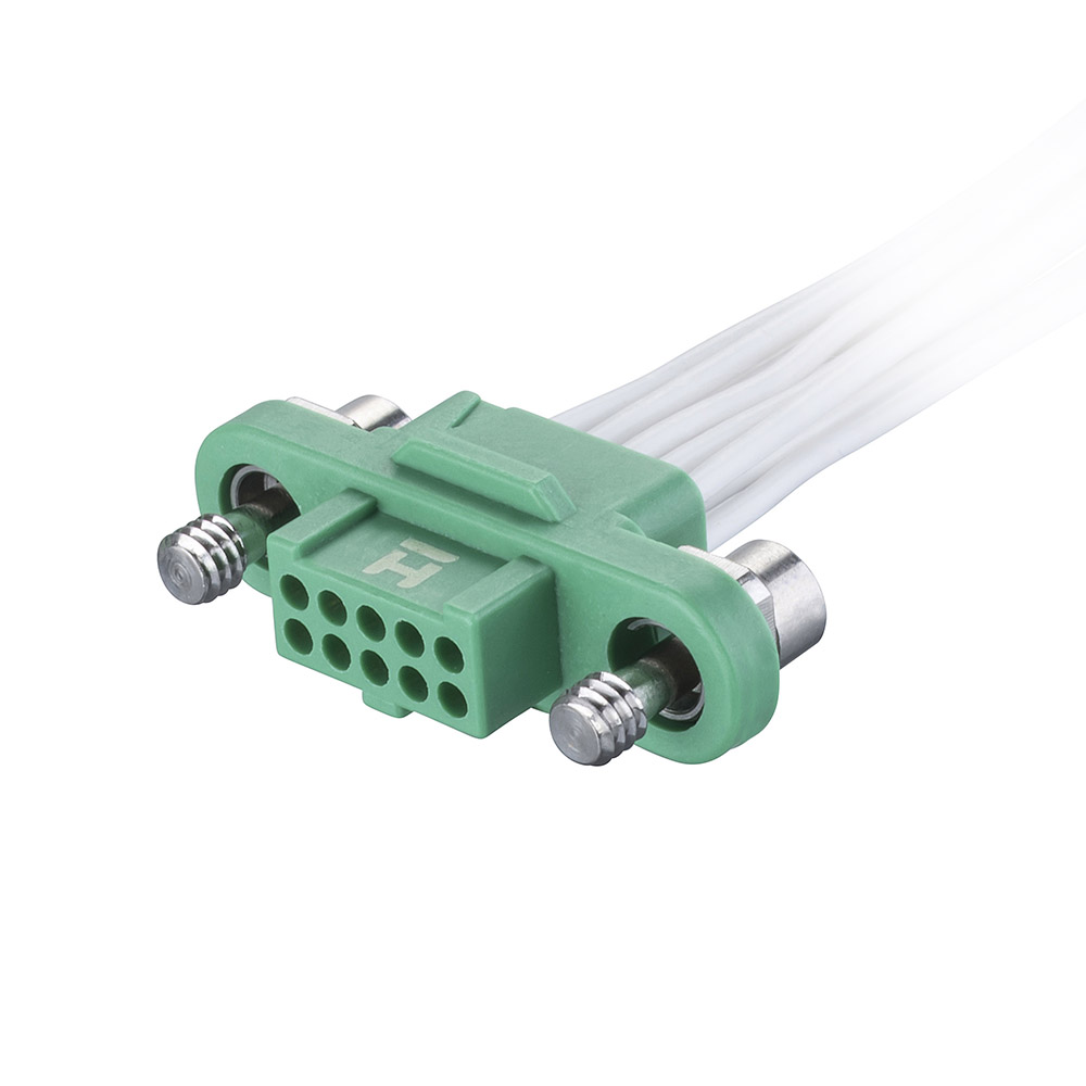 G125-FC21005F1-0450L - 5+5 Pos. Female DIL 28AWG Cable Assembly, 450mm, single-end, Screw-Lok
