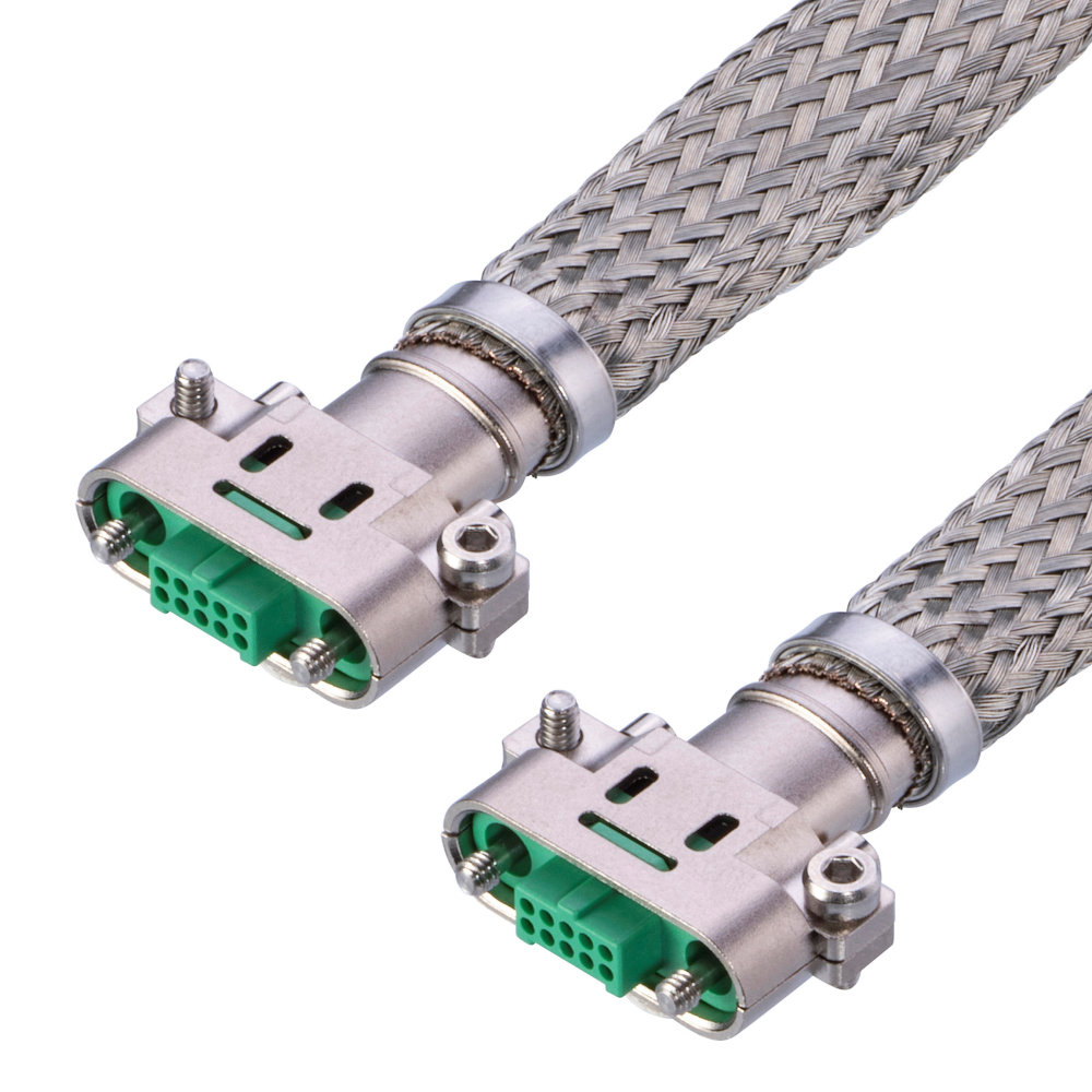 G125-FD21069F1-XXXXF1 - 5+5 Pos. Female DIL 28AWG Cable Assembly, twisted pair double-end shielded, Screw-Lok