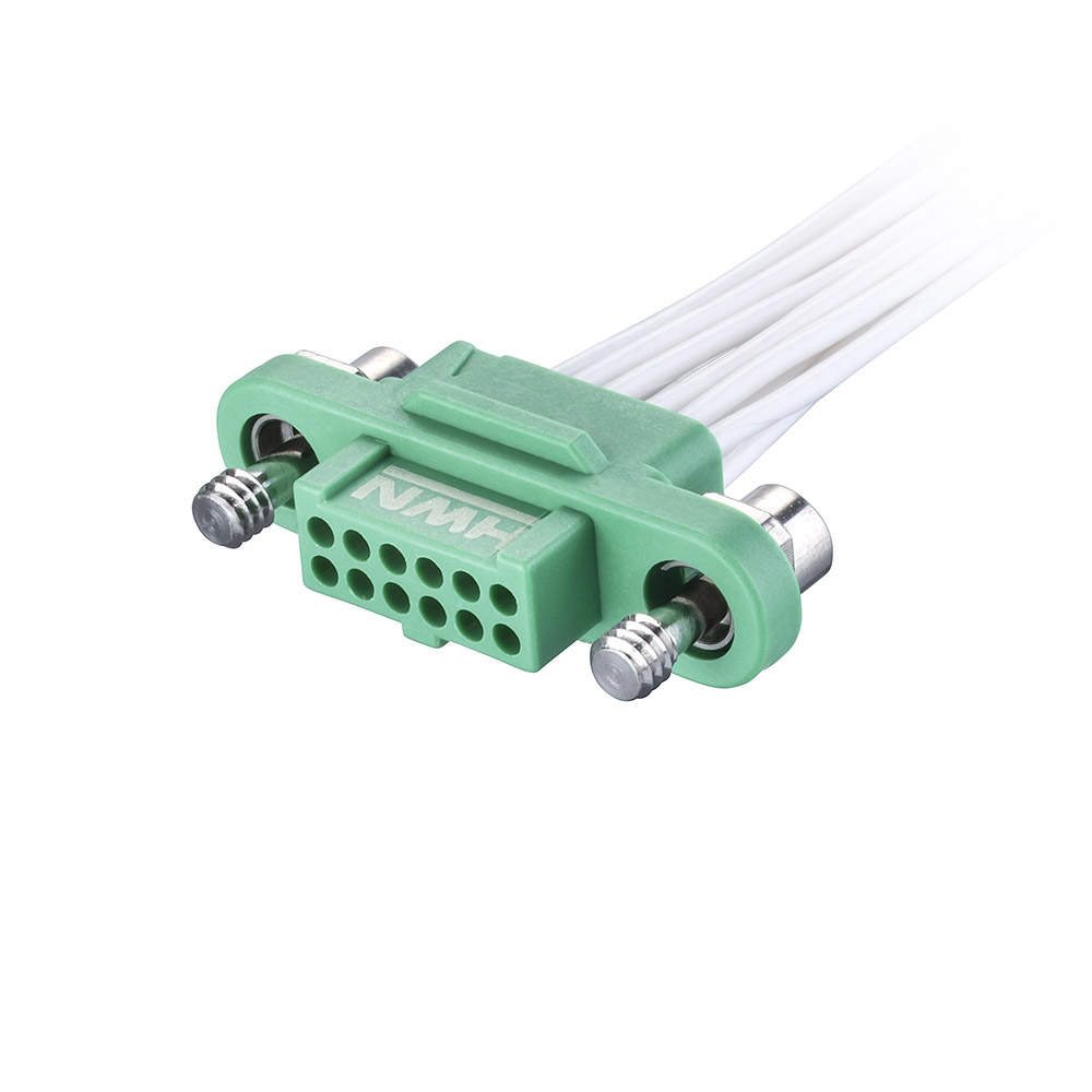 G125-FC21205F1-0150L - 6+6 Pos. Female DIL 28AWG Cable Assembly, 150mm, single-end, Screw-Lok