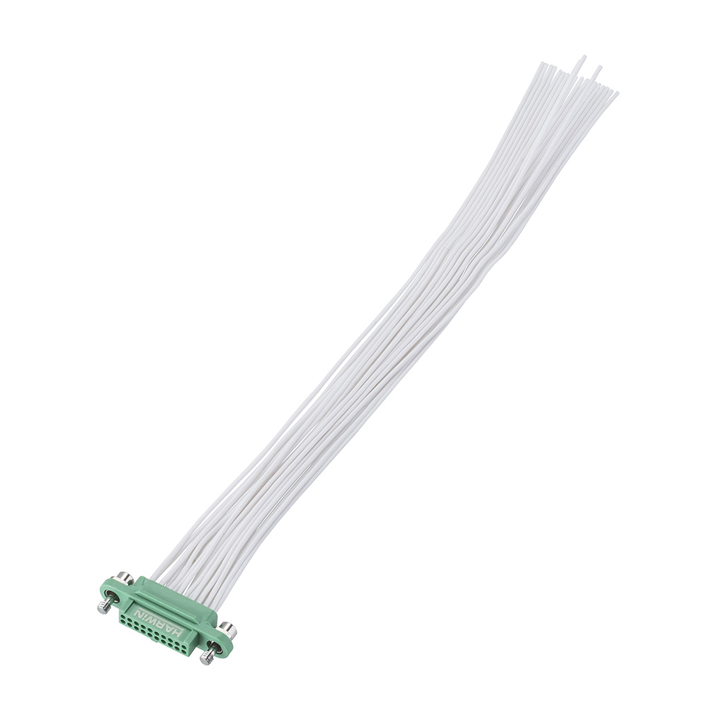 G125-FC22005F1-0150L - 10+10 Pos. Female DIL 28AWG Cable Assembly, 150mm, single-end, Screw-Lok