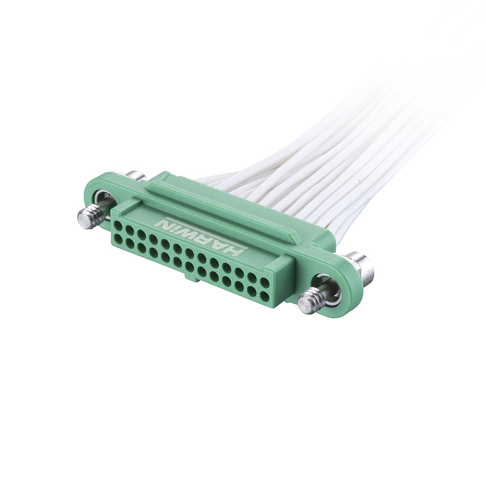 G125-FC22605F1-0150L - 13+13 Pos. Female DIL 28AWG Cable Assembly, 150mm, single-end, Screw-Lok