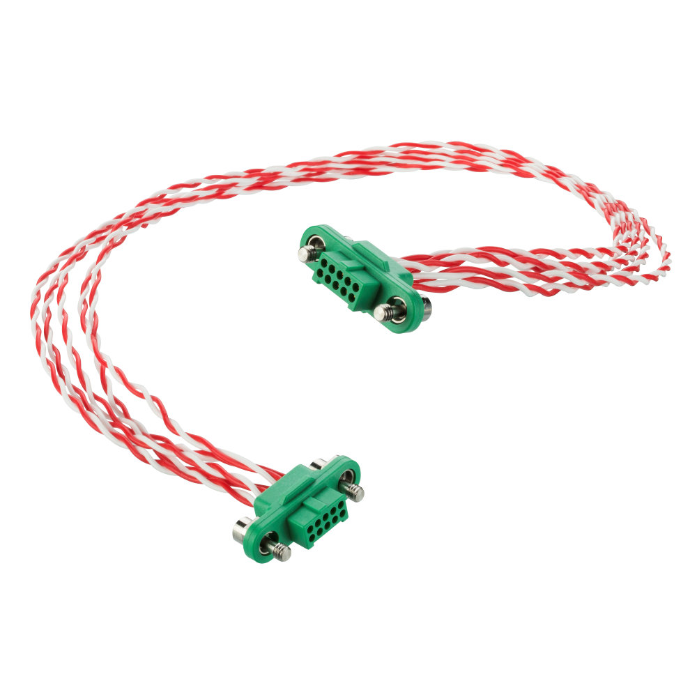 G125-FD25005F1-XXXXF1 - 25+25 Pos. Female DIL 28AWG Cable Assembly, twisted pair double-end, Screw-Lok