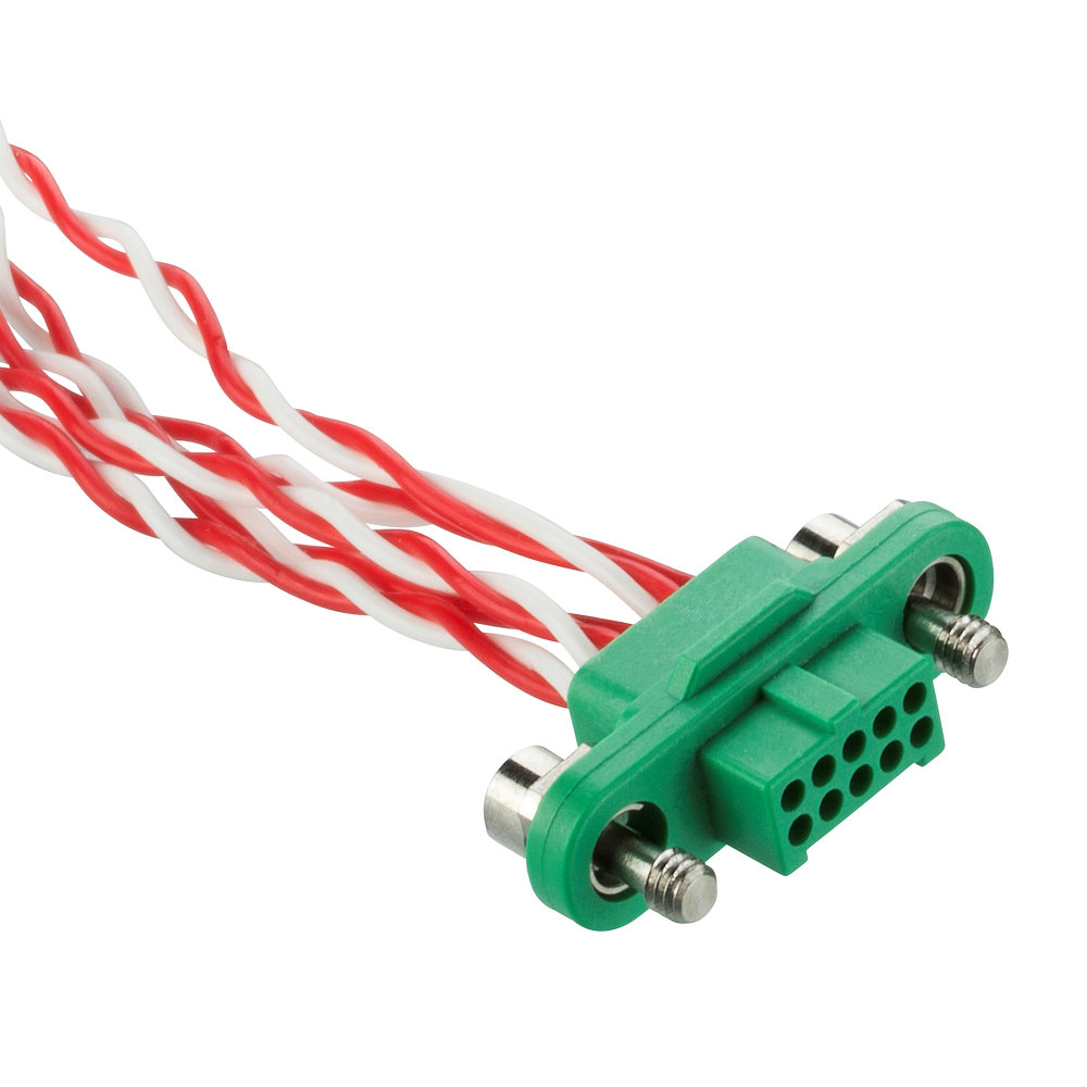 G125-FD21005F1-XXXXL - 5+5 Pos. Female DIL 28AWG Cable Assembly, twisted pair single-end, Screw-Lok