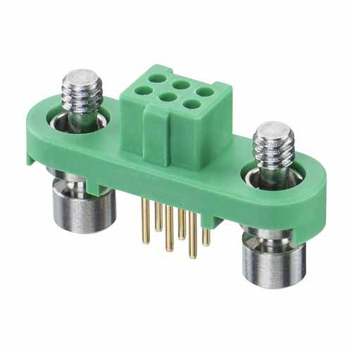 G125-FV10605F1P - 3+3 Pos. Female DIL Vertical Throughboard Conn. Screw-Lok