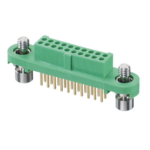 G125-FV12005F1R - 10+10 Pos. Female DIL Vertical Throughboard Conn. Screw-Lok (T+R)