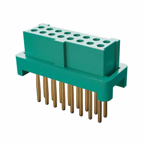 G125-FV21605L0P - 8+8 Pos. Female DIL Vertical Throughboard Conn. for Latches