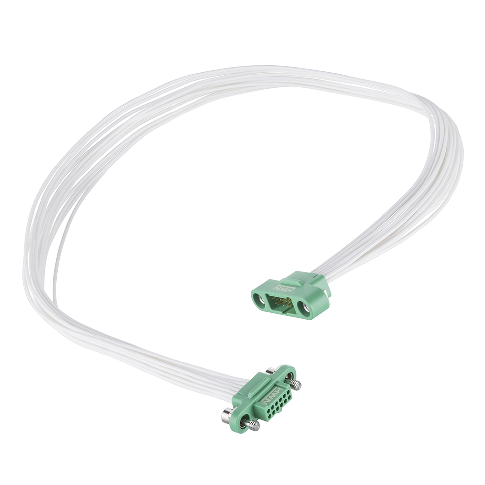 G125-MC11205M1-0150F1 - 6+6 Pos. Male DIL 26AWG Cable Assembly, 150mm, Female 2nd end, Screw-Lok