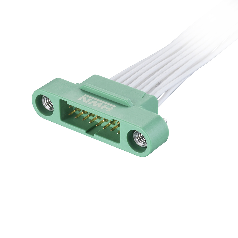 G125-MC21605M1-0450L - 8+8 Pos. Male DIL 28AWG Cable Assembly, 450mm, single-end, Screw-Lok