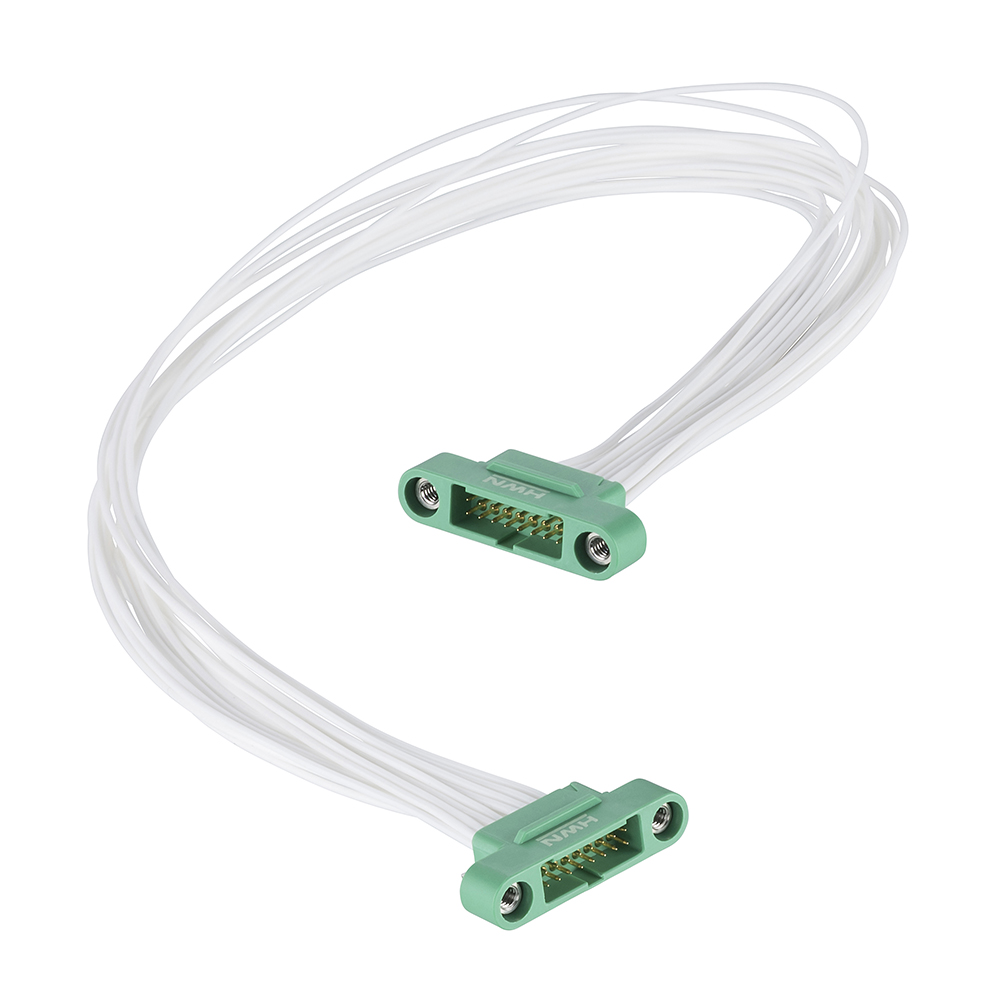 G125-MC11605M1-0150M1 - 8+8 Pos. Male DIL 26AWG Cable Assembly, 150mm, double-end, Screw-Lok