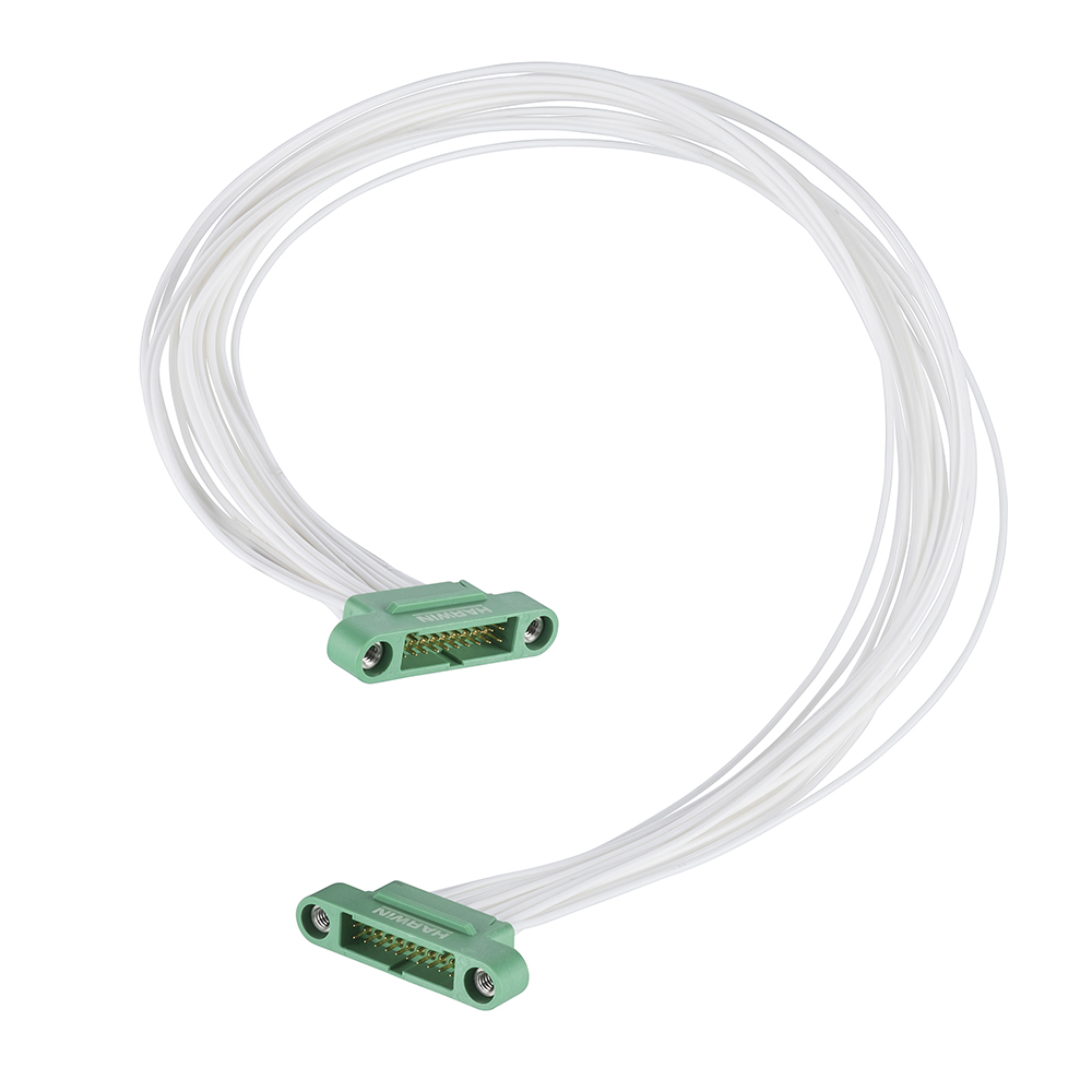 G125-MC12005M1-0150M1 - 10+10 Pos. Male DIL 26AWG Cable Assembly, 150mm, double-end, Screw-Lok