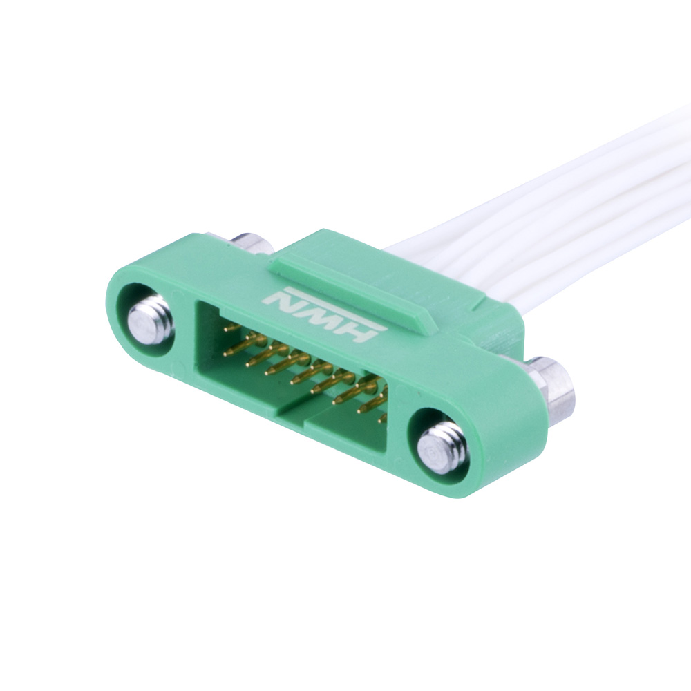 G125-MC21268M3-XXXXL - 6+6 Pos. Male DIL 28AWG Cable Assembly, single-end, Screw-Lok Reverse Fix