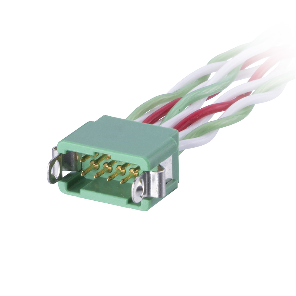 G125-MD12005L4-XXXXM - 10+10 Pos. Male DIL 26AWG Cable Assembly, twisted pair double-end, Latches
