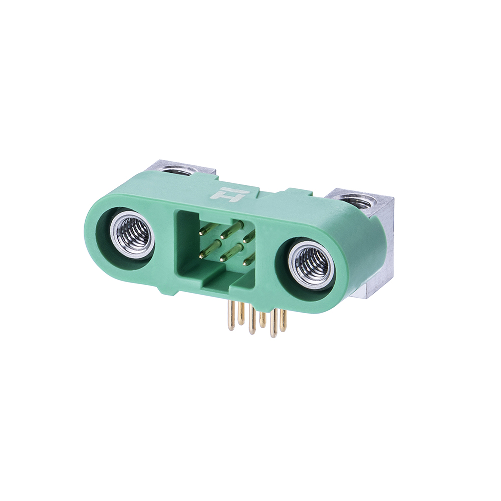 G125-MH10605M4P - 3+3 Pos. Male DIL Horizontal Throughboard Conn. Screw-Lok Board Mount
