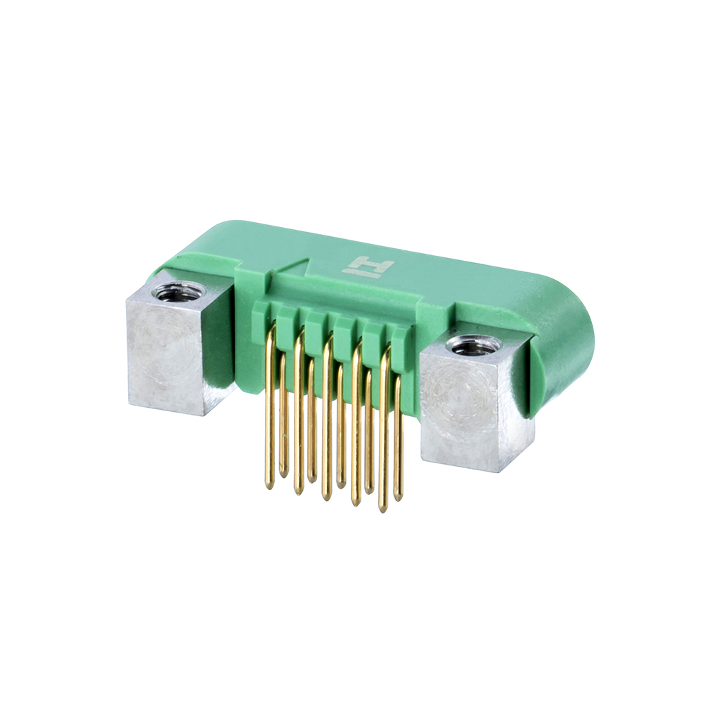 G125-MH11005M4P - 5+5 Pos. Male DIL Horizontal Throughboard Conn. Screw-Lok Board Mount