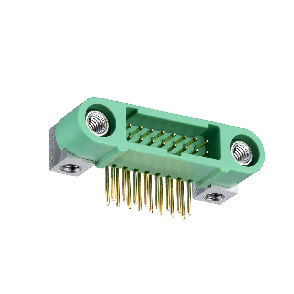 G125-MH11605M4P - 8+8 Pos. Male DIL Horizontal Throughboard Conn. Screw-Lok Board Mount