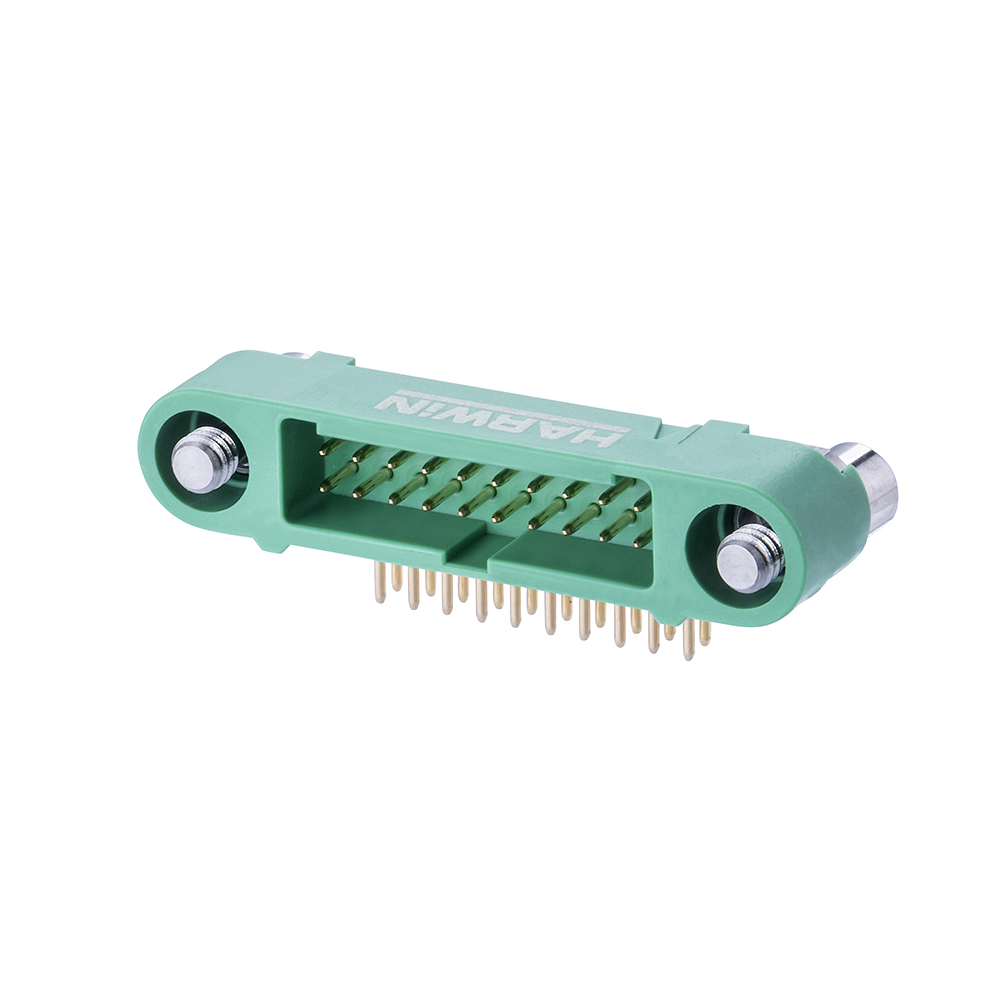 G125-MH12005M3P - 10+10 Pos. Male DIL Horizontal Throughboard Conn. Screw-Lok Reverse Fix