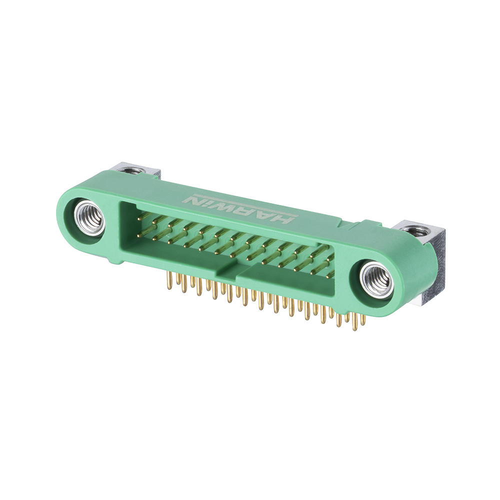 G125-MH12605M4P - 13+13 Pos. Male DIL Horizontal Throughboard Conn. Screw-Lok Board Mount