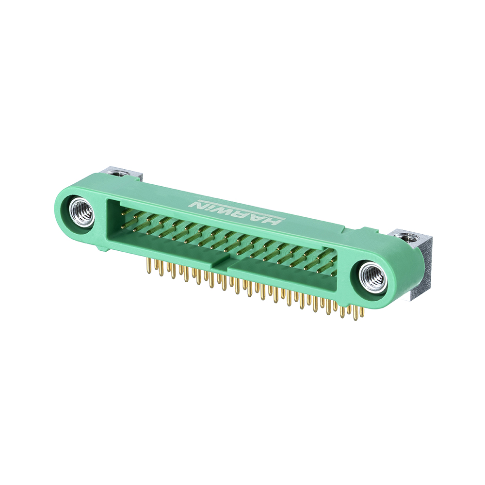 G125-MH13405M4P - 17+17 Pos. Male DIL Horizontal Throughboard Conn. Screw-Lok Board Mount