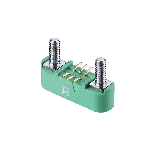 G125-MS10605M2P - 3+3 Pos. Male DIL Vertical SMT Conn. Screw-Lok Board Mount