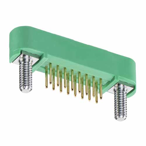 G125-MV11605M2R - 8+8 Pos. Male DIL Vertical Throughboard Conn. Screw-Lok Board Mount (T+R)
