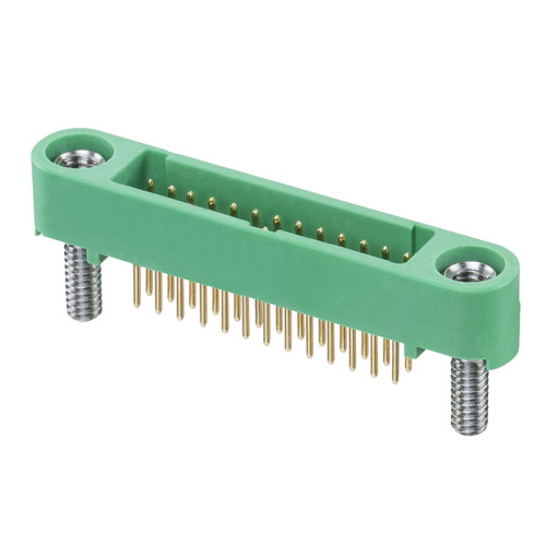 G125-MV12605M2P - 13+13 Pos. Male DIL Vertical Throughboard Conn. Screw-Lok Board Mount