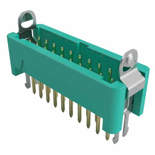G125-MV20605L2P - 3+3 Pos. Male DIL Vertical Throughboard Conn. Latches