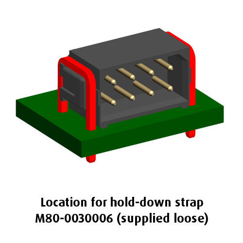 B5743-208-M-L-0 - 4+4 Pos. Male DIL Horizontal Throughboard Conn. No Latches (BS Release)