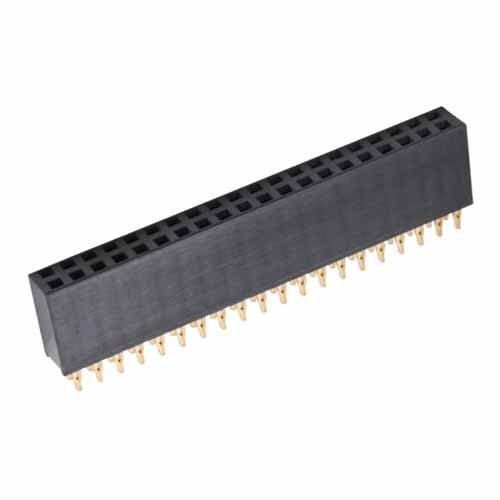 M20-6162005 - 20+20 Pos. Female DIL Vertical Throughboard Conn. Press-fit