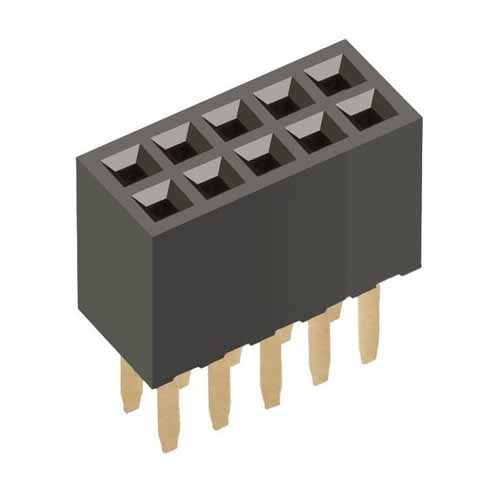 M50-3000545 - 5+5 Pos. Female DIL Vertical Throughboard Conn.