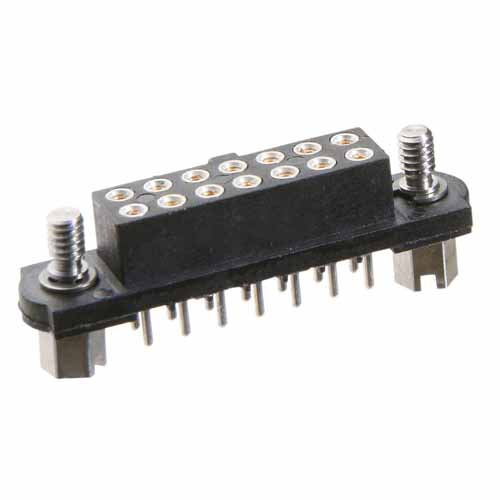 M80-4001605 - 8+8 Pos. Female DIL Vertical Throughboard Conn. Jackscrews