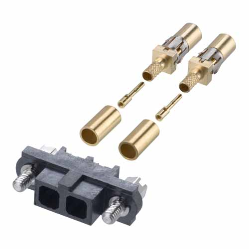 M80-4000000F1-02-307-00-000 - 2 Pos. Female SIL RG174/179/316 Cable Conn. Kit, Jackscrews