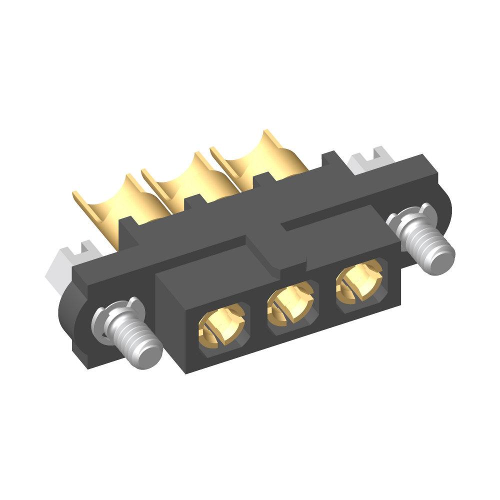 M80-4000000F1-03-PF5-00-000 - 3 Pos. Female SIL 10AWG Cable Conn. Kit, Jackscrews
