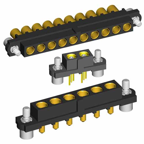 M80-4000000F2-08-PF3-00-000 - 8 Pos. Female SIL Horizontal Throughboard Conn. Jackscrews
