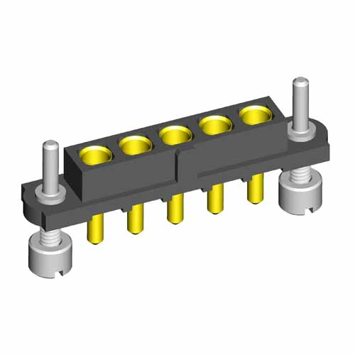 M80-4000000FP-05-322-00-000 - 5 Pos. Female SIL Vertical Throughboard Conn. Guide Pin